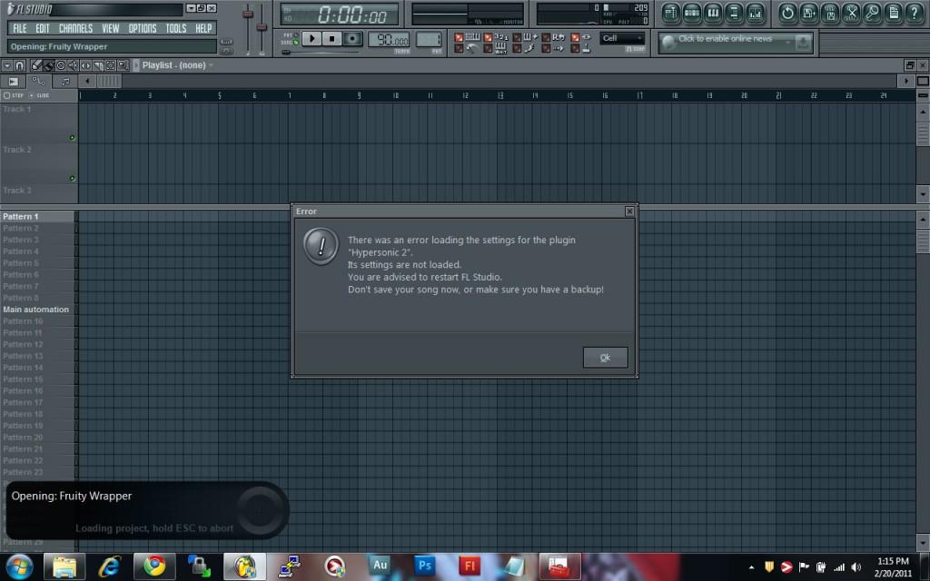Hypersonic 2 FL Studio Error Loading Settings