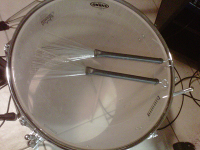 Floor Tom with my drum brushes